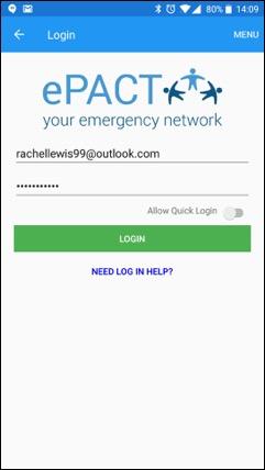 ePACT Admin App LogIn Screen