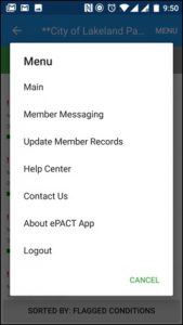 ePACT Admin App_Member Messaging_Menu