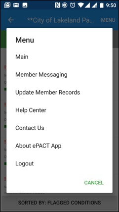 ePACT Admin App Member Messaging Menu