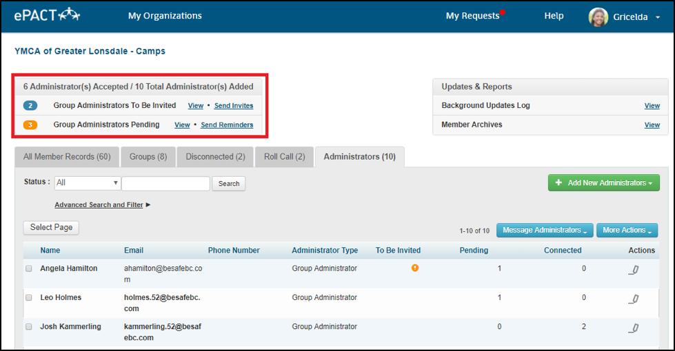 new in ePACT Managing Administrators