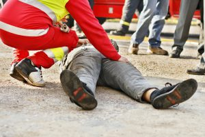 Medical Emergency_Construction Worker Checking on Fallen Man