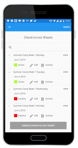 Check In Check Out - Sheets View