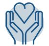 Line icon with two hands holding a heart representing not-for-profit organizations