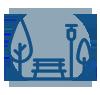 Line icon representing a public park