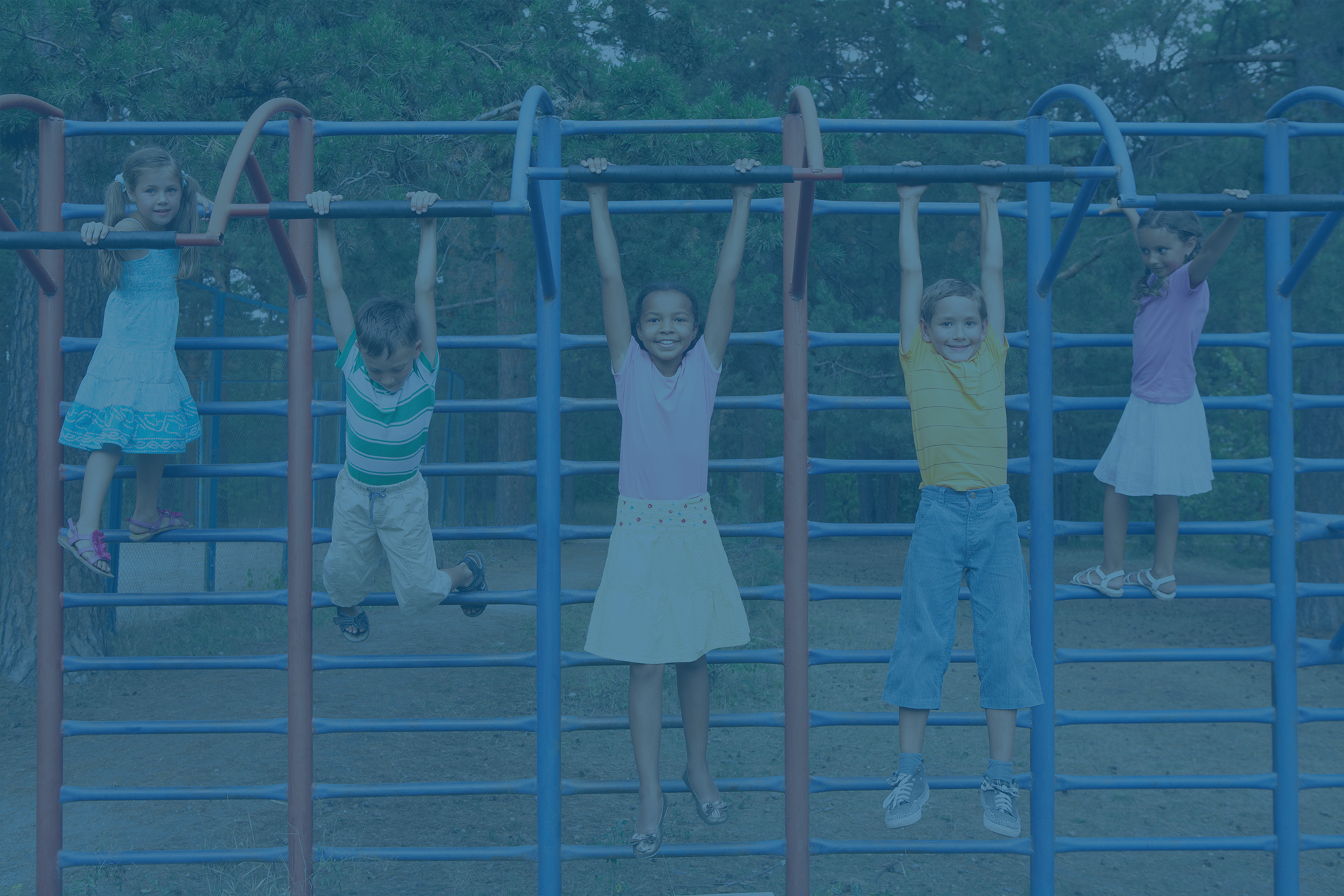 Diverse children playing in a playground